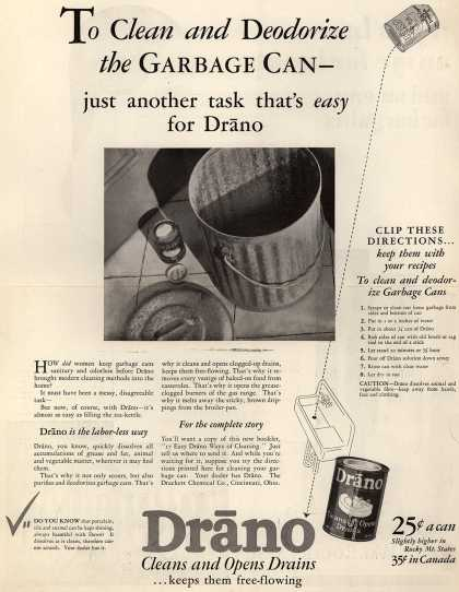 Drackett Chemical Company's Drano – To Clean and Deodorize the Garbage Can- just another task that's easy for Drano (1929)