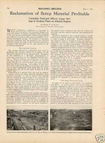 """Reclamation of Scrap Material..."" Article/cnr (1926)"
