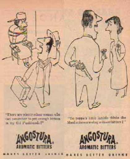 Angostura Aromatic Bitters December – Set of 2 – Comic Cartoon (1949)