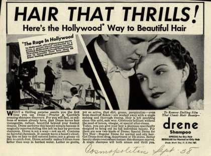 Procter & Gamble Co.'s Drene Shampoo – Hair That Thrills! Here's the Hollywood Way to Beautiful Hair. (1938)