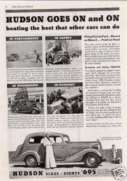 "Hudson Car Ad ""Hudson Goes On... (1935)"