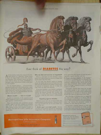 Metropolitan Life Insurance Co. Diabetes. Roman Chariot theme (1952)