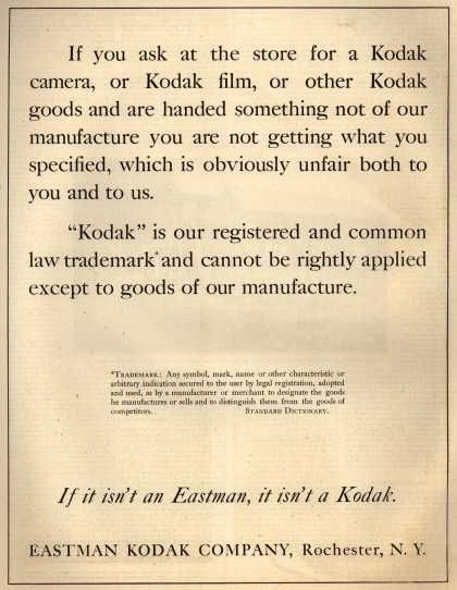 Kodak – If it isn't an Eastman, it isn't a Kodak (1920)
