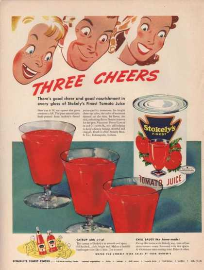Three Cheers Stokelys Tomato Juice (1942)