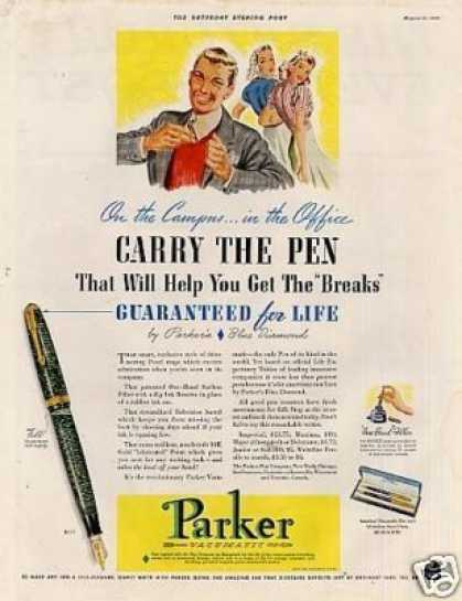 "Parker Vacumatic Pen Ad ""Carry the Pen... (1940)"