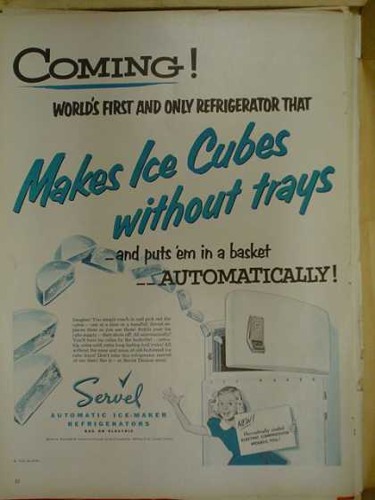 Servel automatic ice maker makes ice cubes without trays (1953)
