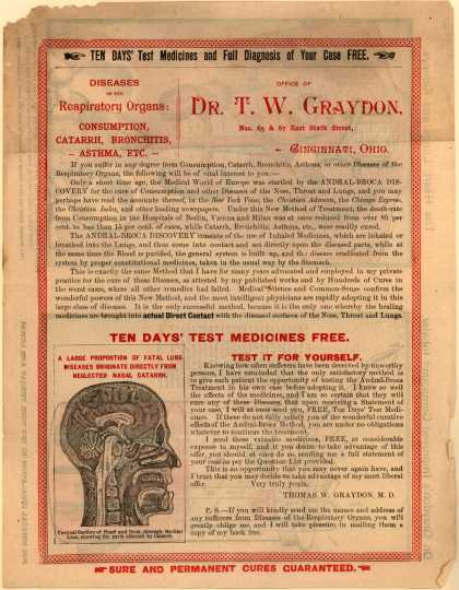 DR. T. W. Graydon's Compound Inhaler – Ten Days' Test Medicines and Full Diagnosis of Your Case FREE. Test Medicines and Full Diagnosis of Your Case Free...