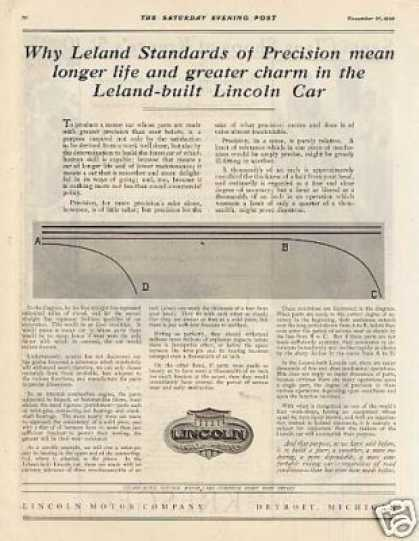 "Lincoln Ad ""Why Leland Standards... (1920)"