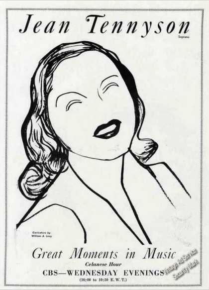 Jean Tennyson Caricature Cbs Great Moments (1944)