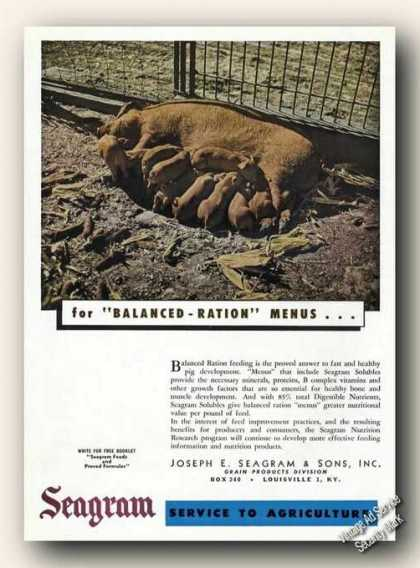 Seagram Feeding Sow & Litter Farm Advertising (1948)