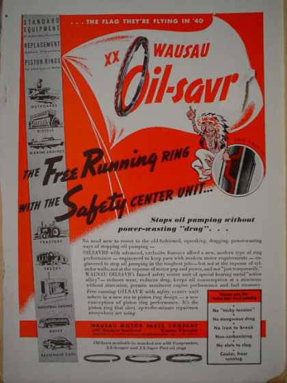 Wausau Motor Parts Co. Wausau Oil Savr Piston rings (1940)