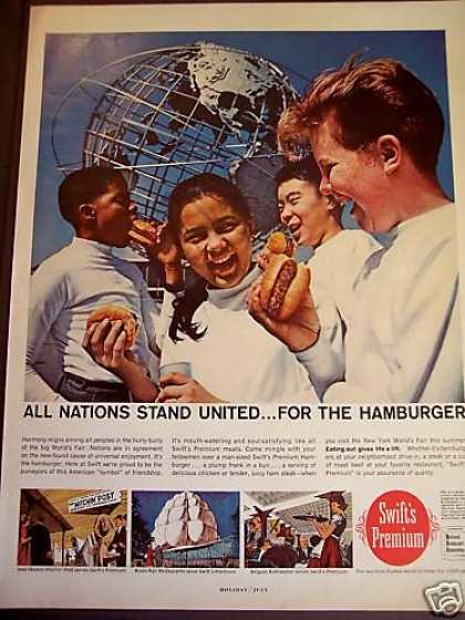 Kids Eat Hamburgers at Worlds Fair Ny Photo (1965)