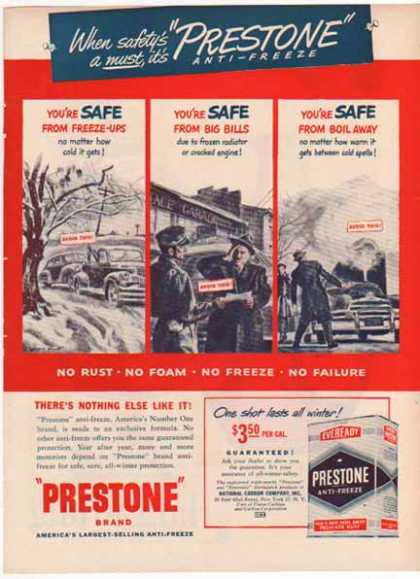 Eveready Prestone Anti-Freeze – One Shot All Winter (1949)