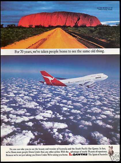 Qantas Airlines 747 Ayers Rock Australia (1989)