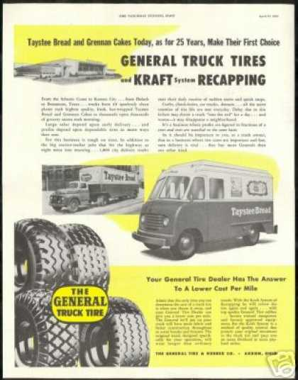 Taystee Bread Grennan Cakes Trucks General Tire (1952)