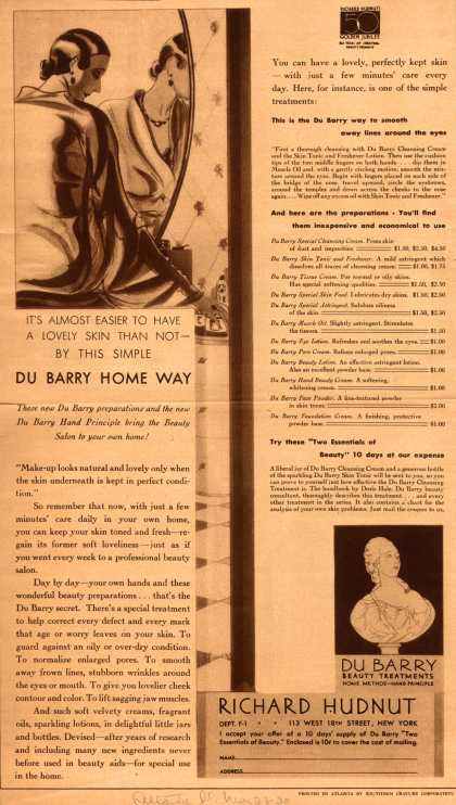Richard Hudnut's Du Barry Beauty Treatments – It's Almost Easier To Have A Lovely Skin Than Not By This Simple Du Barry Home Way (1930)