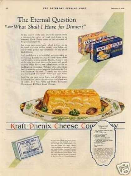 "Kraft Cheese Color Ad ""The Eternal Question... (1929)"