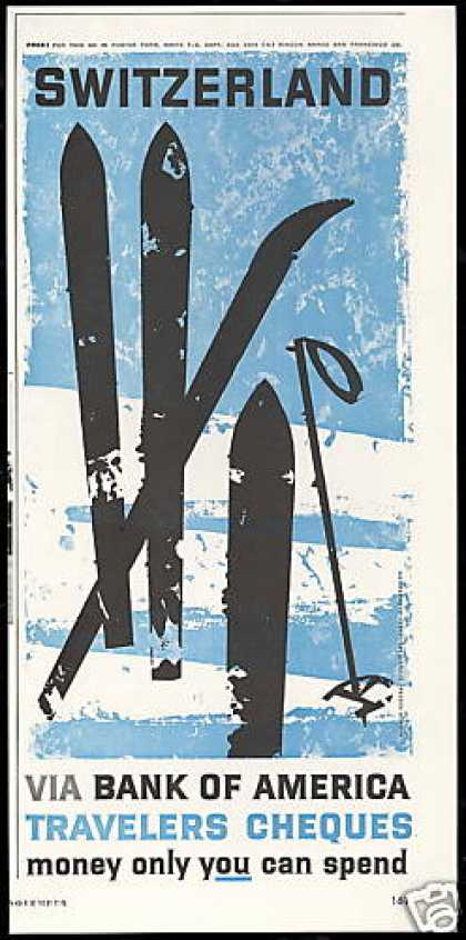 Switzerland Snow Ski Pole Bank of America (1959)
