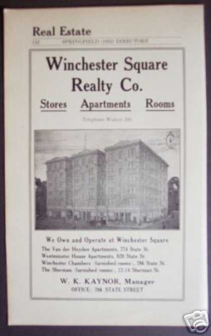 Winchester Square Realty, Springfield Ma (1922)
