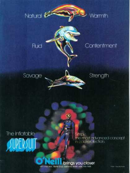 O'neil Ad Inflatable Supersuit Seal Dolphin Shark (1974)