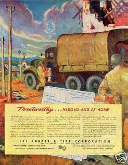 Lee Rubber & Tire Corporation Ad Militray Truck (1945)