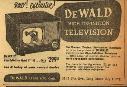 DeWald Radio Mfg. Corp.'s DeWald High-Definition Model CT-102 – New! Exclusive! DeWald High Definition Television (1949)
