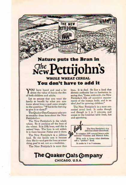 Quaker Qats &#8211; New Pettijohn&#8217;s Whole Wheat Cereal (1925)
