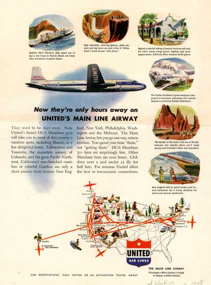 United Air Line's Vacation Travel – Now they're only hours away on United's Main Line Airway (1948)