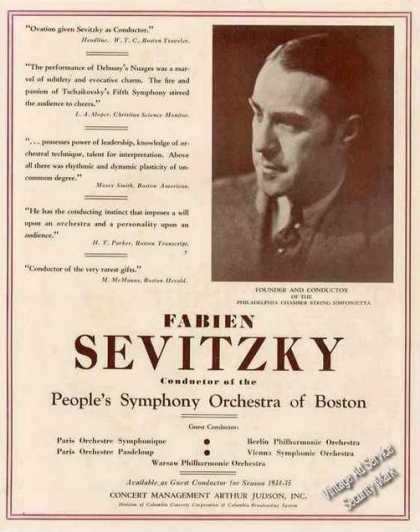 Fabien Sevitzky Conductor People's Symphony (1934)