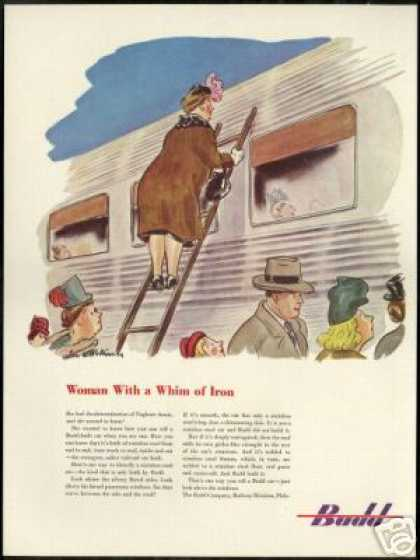 Budd Stainless Train Railroad Inspection Art (1947)