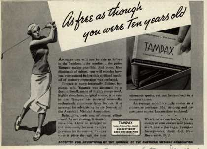 Tampax's Tampons – As free as though you were Ten years old (1937)