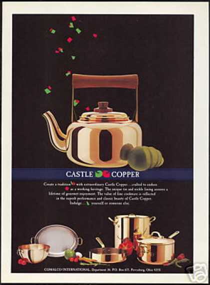Castle Copper Teapot Cookware Vintage Photo (1989)