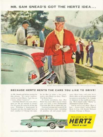 Chevy Hertz Rent Car Ad Sam Snead Golf Golfer (1958)