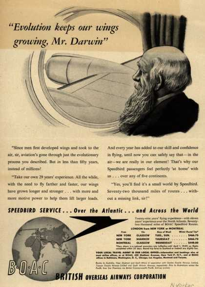 "British Overseas Airways Corporation – ""Evolution Keeps Our Wings Growing, Mr. Darwin."" (1948)"