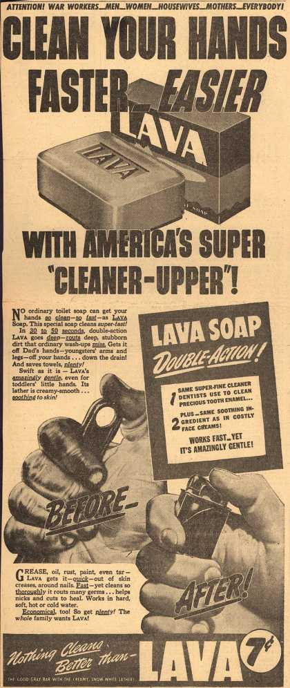 "Procter & Gamble Co.'s Lava Soap – Clean Your Hands Faster Easier With America's Super ""Cleaner-Upper"" (1943)"