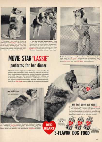 Red Heart Dog Food Lassie Collie Ad T (1948)