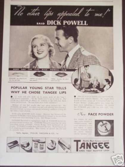 Tangee Lipstick W Dick Powell Photo (1936)