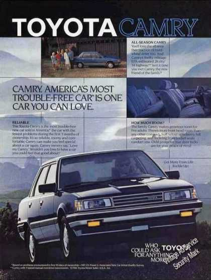 "Toyota Camry ""America's Most Trouble-free Car"" (1986)"