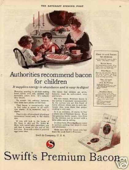 "Swift's Premium Bacon Ad ""Authorities Recommend... (1923)"