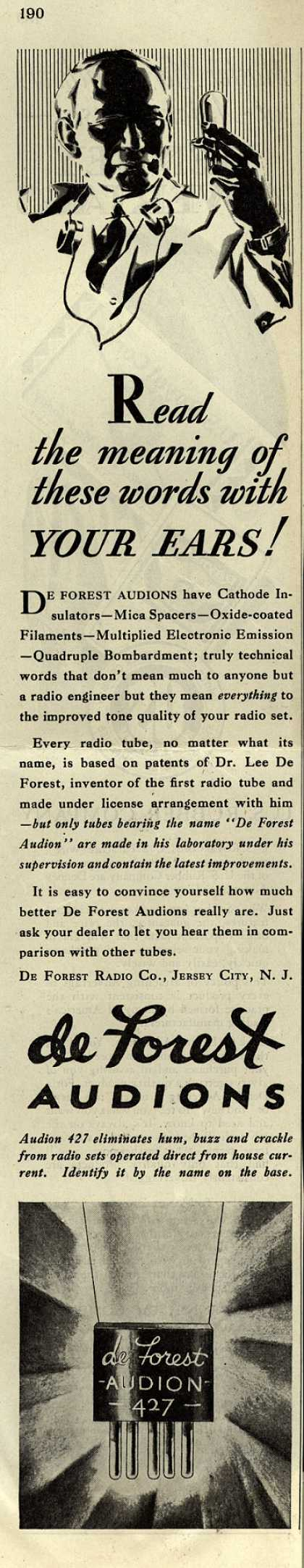 De Forest Audion's Audions – Read the meaning of these words with YOUR EARS (1929)