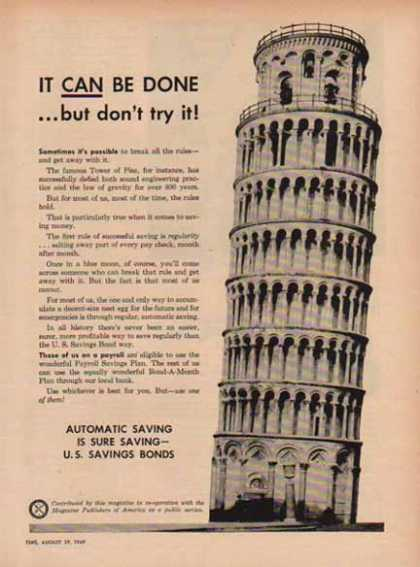 U.S. Savings Bond – Tower of PIZA (1949)