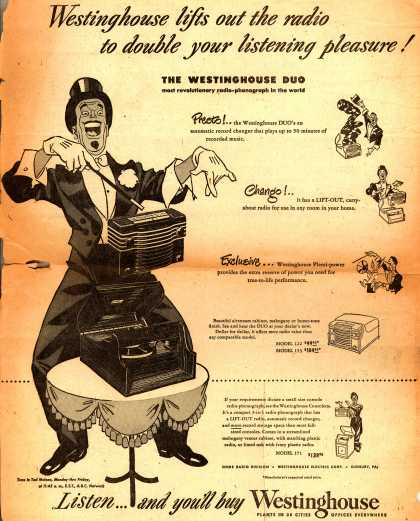 Westinghouse Electric Corporation's Westinghouse Duo (various models) – Westinghouse lifts out the radio to double your listening pleasure (1948)