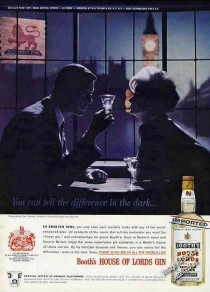 "Booth's House of Lords Gin ""Difference In Dark"" (1962)"