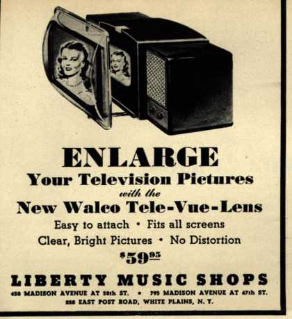 Walco – Enlarge Your Television Pictures with the New Walco Tele-Vue-Lens (1948)