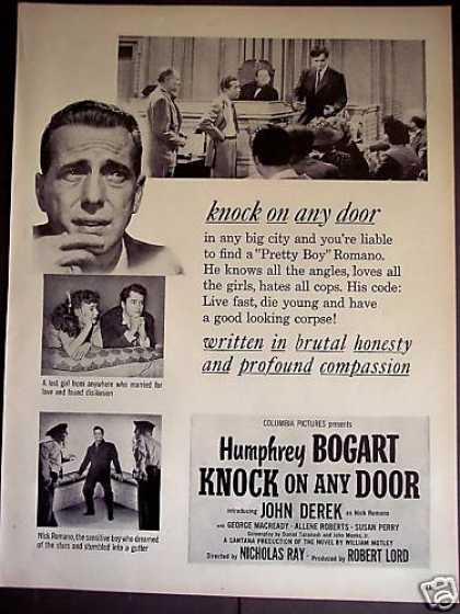Humphrey Bogart Movie Promo Ad Knock On Any Door (1949)