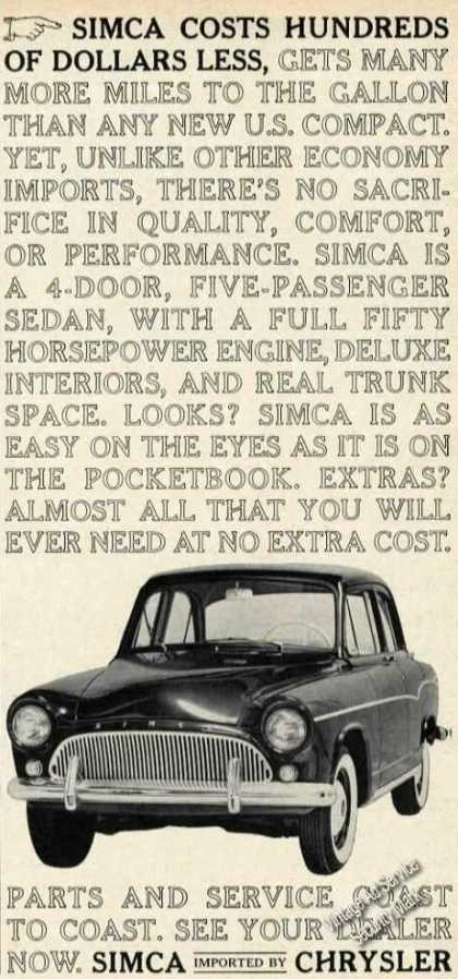 Simca Costs Hundreds of Dollars Less (1961)