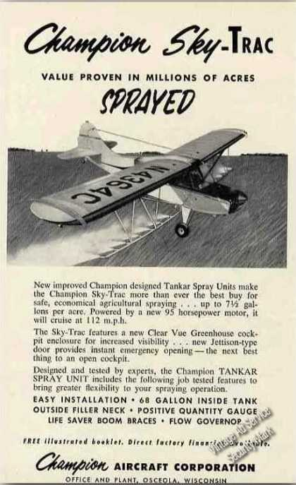 Champion Sky-trac Agricultural Spraying Photo (1956)