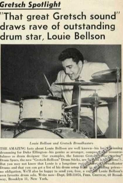 Louie Bellson Photo Rare Gretsch Drums (1954)