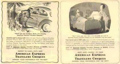 American Express Travelers Cheques Ads – Set of Two – Sold (1951)