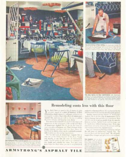 Armstrong Floor Tile Blue Kitchen (1952)
